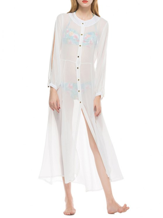 Sheer Button Up Longline Chiffon Cover Up - Blanc S