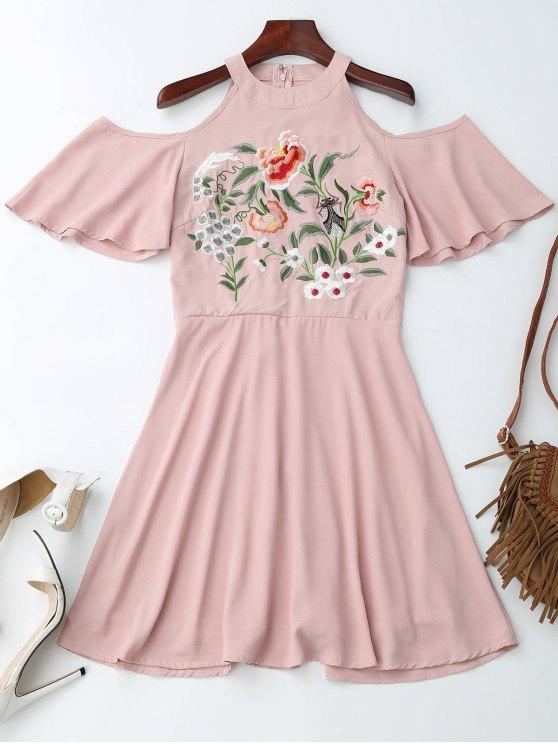 fancy Jewel Neck Cold Shoulder Floral Embroidered Dress - PINK M