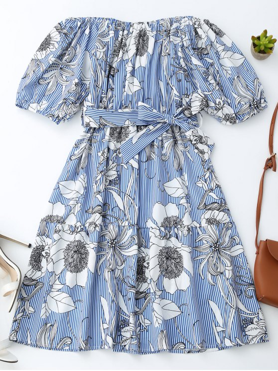 affordable Off Shoulder Striped Floral Dress With Belt - BLUE STRIPE S