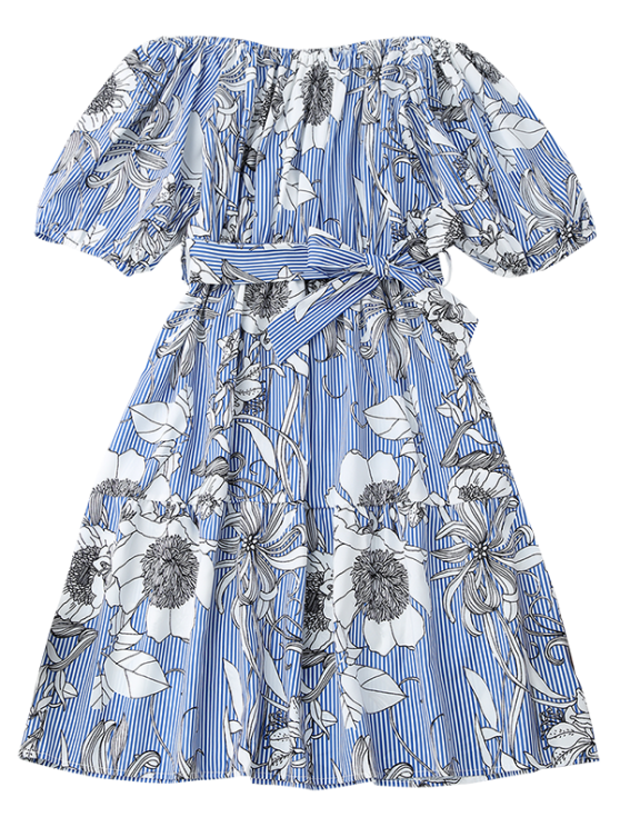 Off Shoulder Striped Floral Dress With Belt - BLUE STRIPE M Mobile