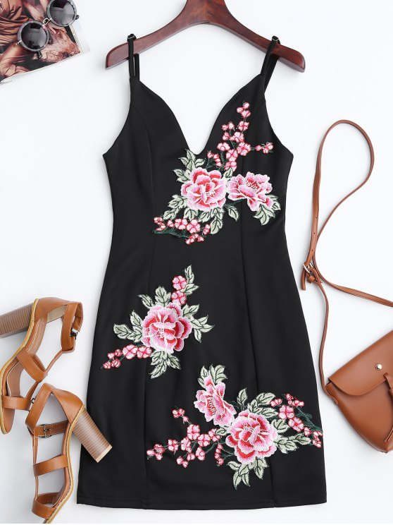 best Floral Embroidered Mini Bodycon Dress - BLACK M