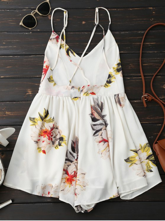 Spaghetti Strap Backless Floral Wide Leg Romper - WHITE M Mobile