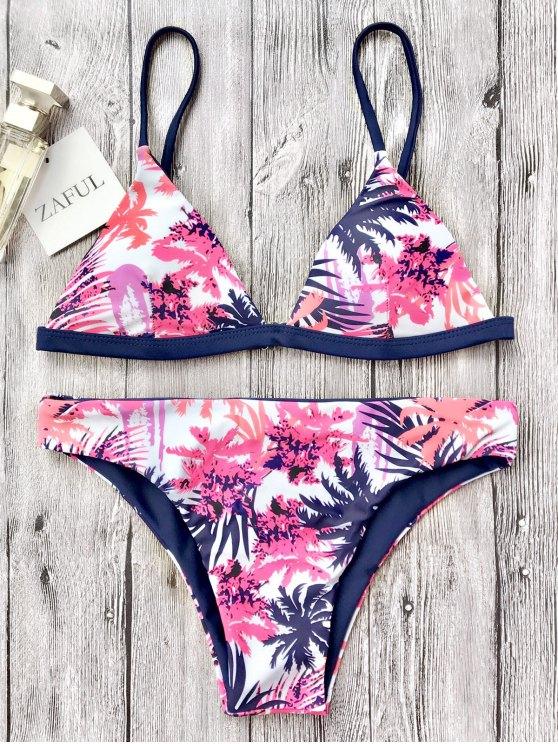 Traje de Bikini de Tirante Fino con Escote Pico con Estampado de Hoja - Blanco S