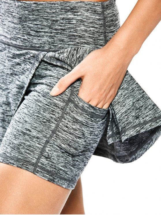 Skirted Space Dyed Sporty Shorts - LIGHT GRAY XL Mobile