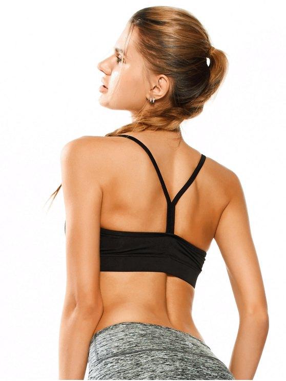Padded Y Back Activewear Bra - BLACK S Mobile