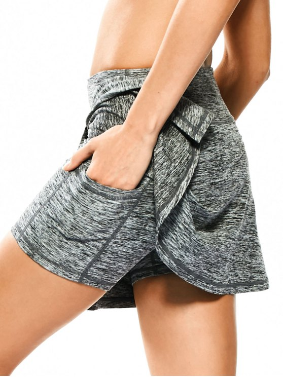 fashion Skirted Space Dyed Sporty Shorts - LIGHT GRAY XL