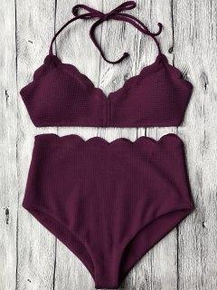 Halter Scalloped High Waisted Bikini Set - Merlot S