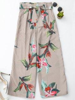الأزهار مخطط السراويل الساق واسعة مع حزام - شريط L