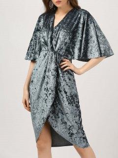 Plunge Twist Front Asymmetric Velvet Dress - Blue Gray L