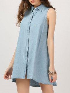 Button Up Sleeveless Chambray Dress - Denim Blue S