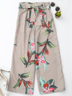 Floral Striped Wide Leg Pants With Belt - Stripe S
