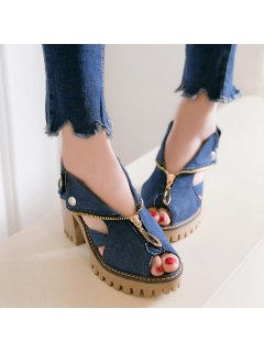 Denim Peep Toe Sandals - Deep Blue 39