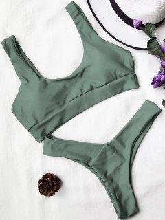 U Neck Bralette Thong Bikini Set - Army Green S