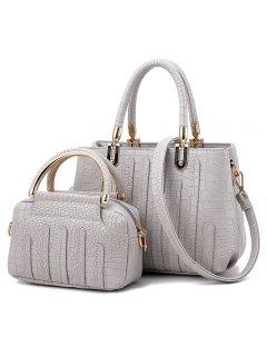 2 Pieces Crocodile Pattern Handbag Set - Light Grey