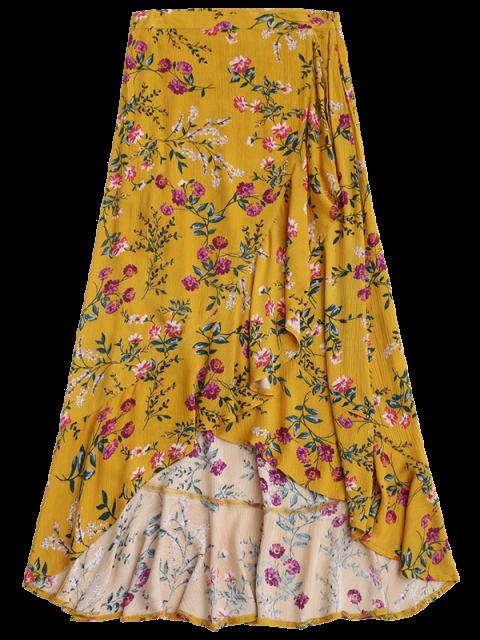 shops Ruffles Asymmetrical Skirt - YELLOW S Mobile