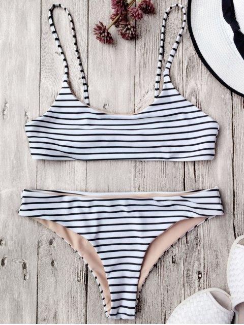 lady Cami Striped Bralette Bikini Set - WHITE S Mobile