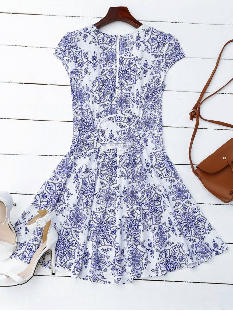 fancy Print Cut Out Fit and Flare Dress - BLUE AND WHITE L Mobile
