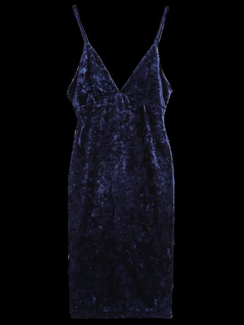 affordable Midi Crushed Velvet Bodycon Dress - PURPLISH BLUE 2XL Mobile