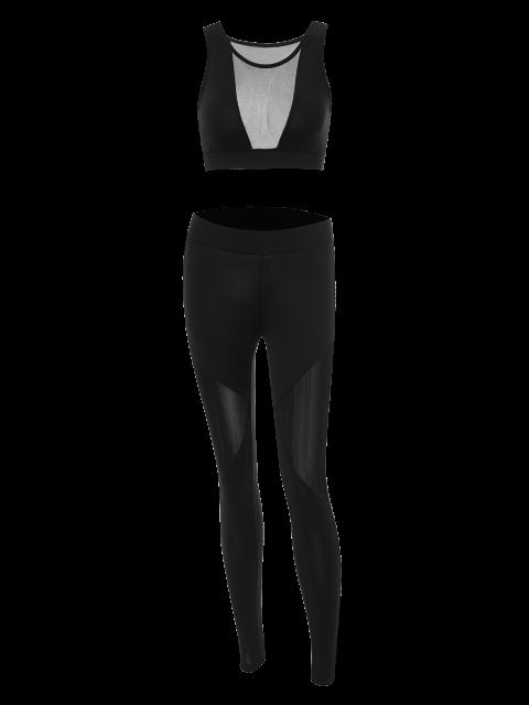 best See-Through Mesh Spliced Skinny Sport Suit - BLACK L Mobile