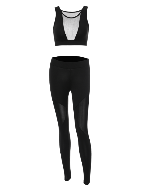 new See-Through Mesh Spliced Skinny Sport Suit - BLACK S Mobile
