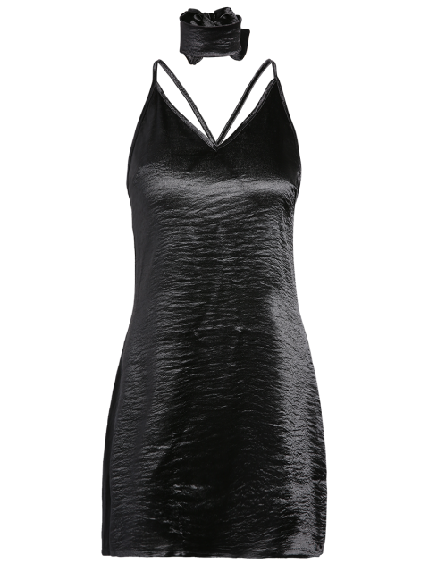 hot Pure Color Cami Satin Dress - BLACK L Mobile