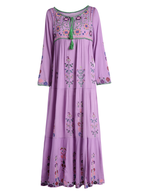 womens Scoop Neck Embroidered Swing Maxi Dress - PURPLE XL Mobile