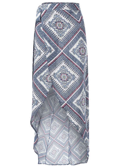 trendy High Waist Asymmetric Wrap Skirt - COLORMIX S Mobile