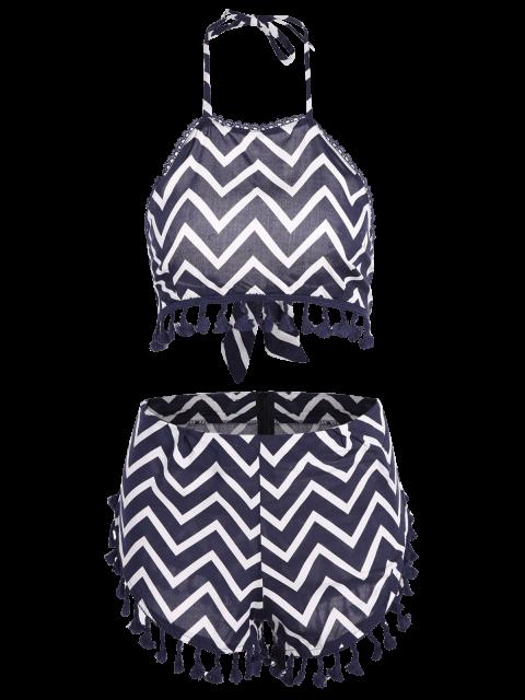 online Zig Zag Halter Crop Top and Shorts Suit - PURPLISH BLUE M Mobile