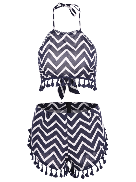 new Zig Zag Halter Crop Top and Shorts Suit - PURPLISH BLUE S Mobile