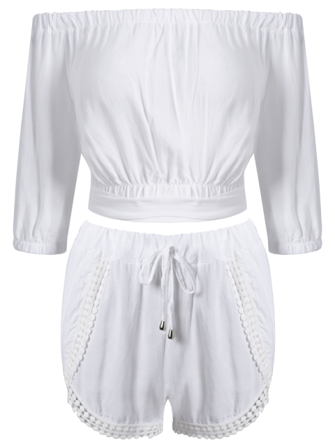 shop Off The Shoulder Crop Top and Solid Color Shorts Suit - WHITE S Mobile