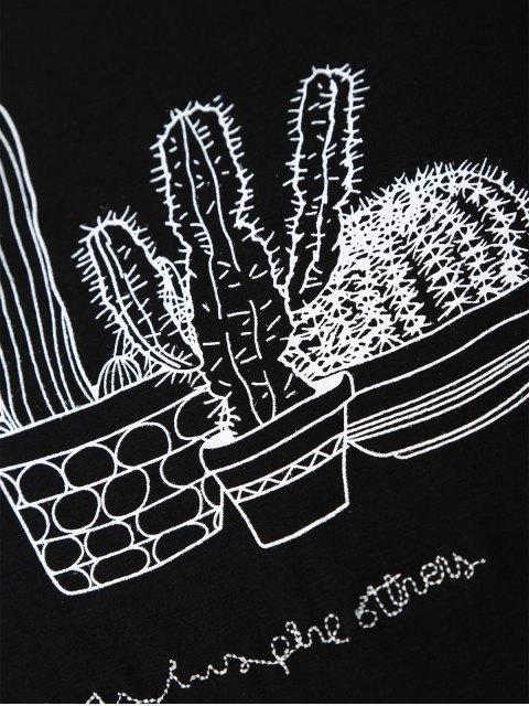 women Cactus Graphic Cotton Blend T-Shirt - BLACK M Mobile