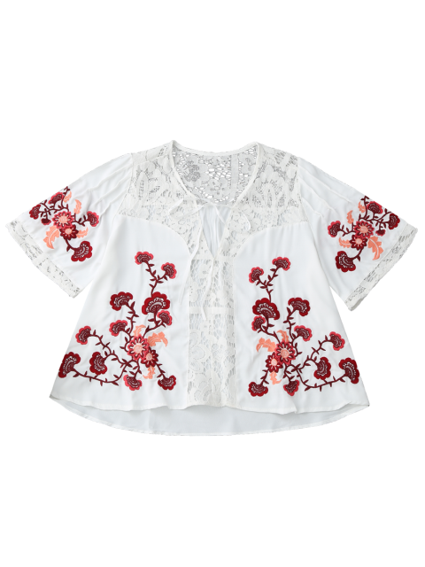 unique Ribbon Tie Lace Floral Embroidered Blouse - WHITE M Mobile