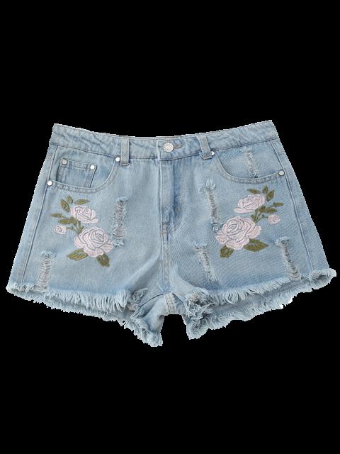 affordable Floral Embroidered Frayed Hem Hot Denim Shorts - DENIM BLUE M Mobile