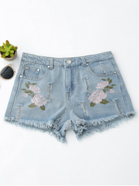 buy Floral Embroidered Frayed Hem Hot Denim Shorts - DENIM BLUE L Mobile