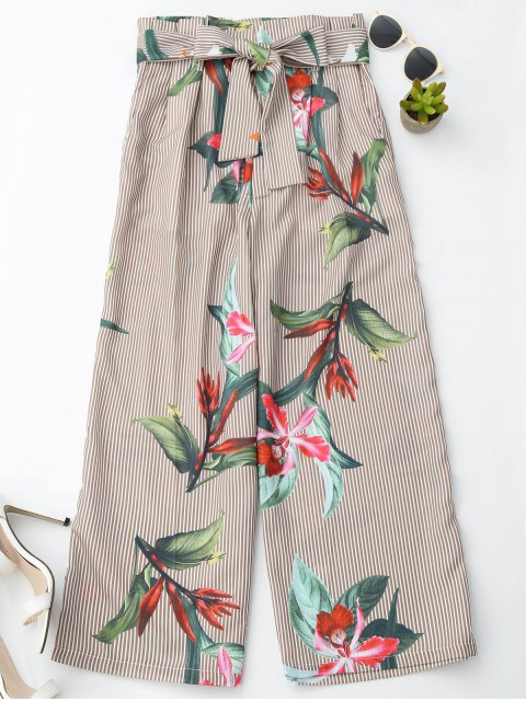 women's Floral Striped Wide Leg Pants With Belt - STRIPE L Mobile