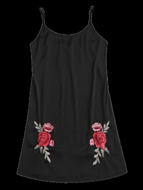 ladies Satin Floral Embroidered Slip Mini Dress - BLACK M Mobile