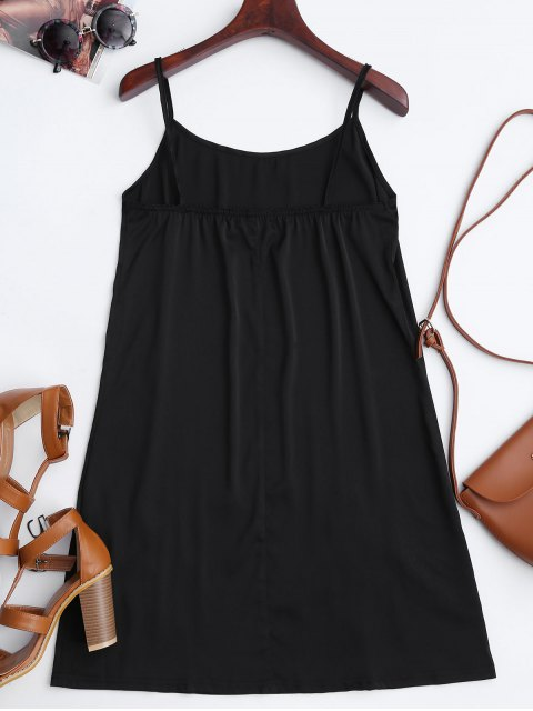shops Satin Floral Embroidered Slip Mini Dress - BLACK S Mobile