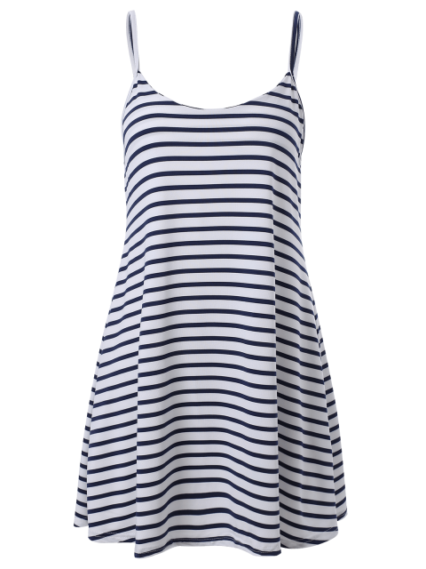 hot Spaghetti Strap A Line Stripe Dress - BLUE AND WHITE M Mobile