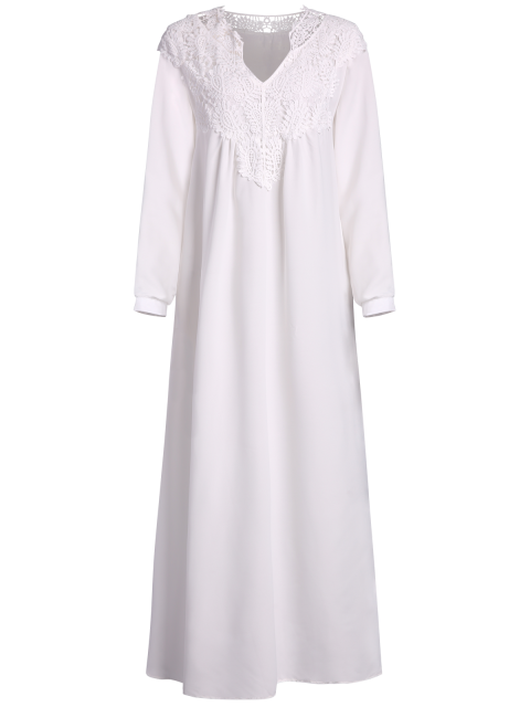 affordable Crochet Trim Maxi Flowing Dress - WHITE S Mobile