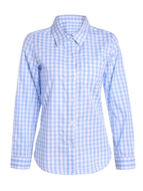 womens Checked Pocket Shirt - BLUE AND WHITE L Mobile