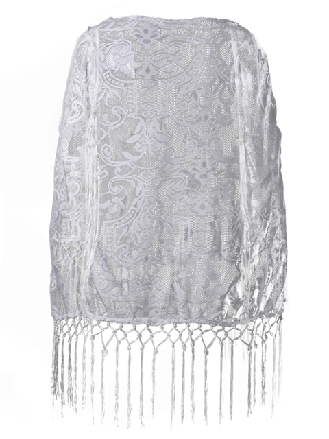 unique Tassels Spliced Lace Cover Up - WHITE S Mobile