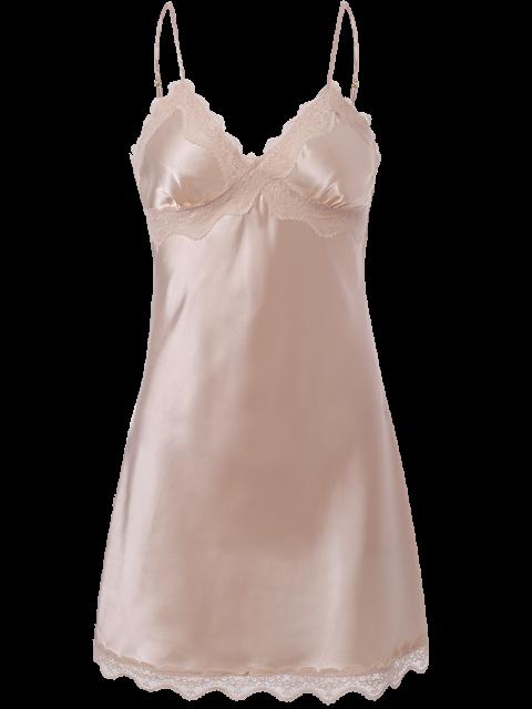 ladies Lace Trim Satin Slip Sleep Dress - LIGHT PINK XL Mobile