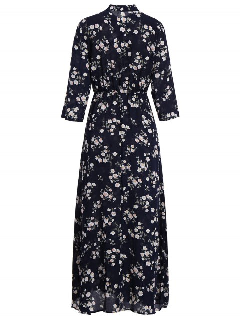 women's Floral Printed Fall Dress - BLACK L Mobile