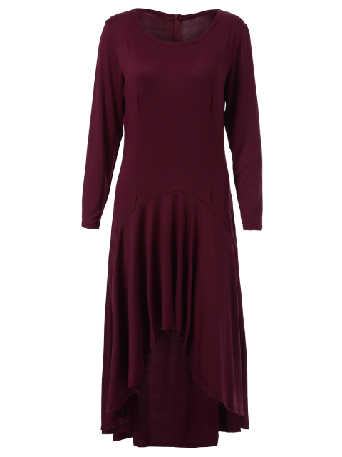 best High Low Long Sleeve Dress - WINE RED M Mobile