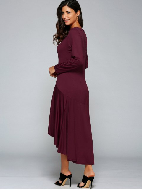 shops High Low Long Sleeve Dress - WINE RED 2XL Mobile