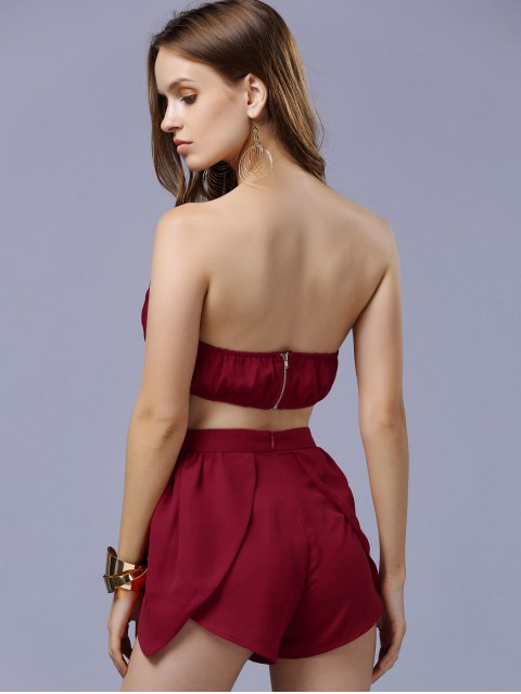fancy Chiffon Padded Crop Top and Shorts - RED M Mobile