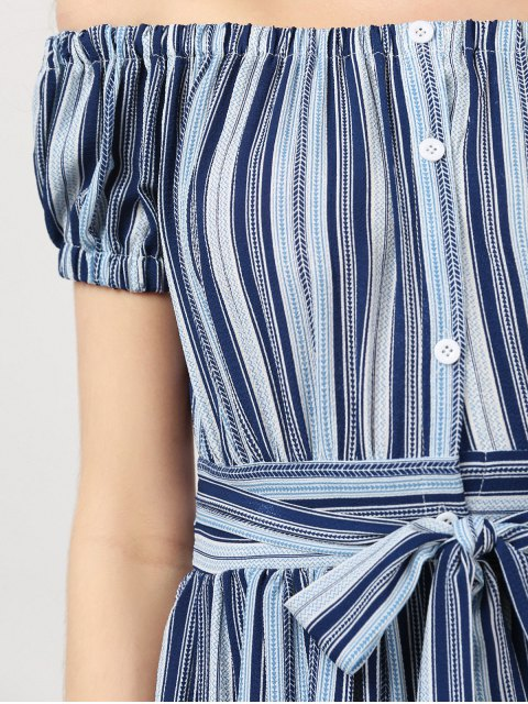 sale Button Up Off Shoulder Dress With Stripe - STRIPE L Mobile