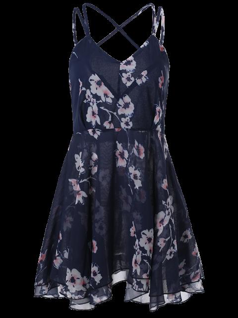 best Slip Backless Floral Print Swing Dress - BLUE 2XL Mobile