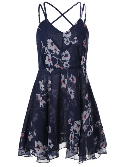 women's Slip Backless Floral Print Swing Dress - BLUE M Mobile