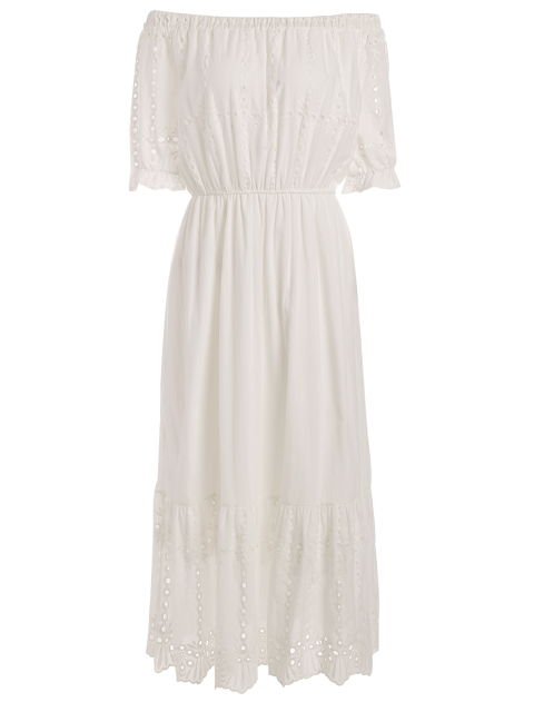 fashion Off Shoulder Ruffle Hollow Out Dress - WHITE M Mobile